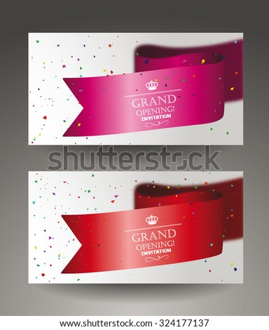 Grand opening banners with confetti and sikl ribbon - stock vector