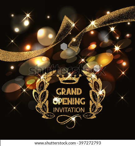 Grand opening invitation  card with gold abstract sparkling ribbon and bokeh background - stock vector