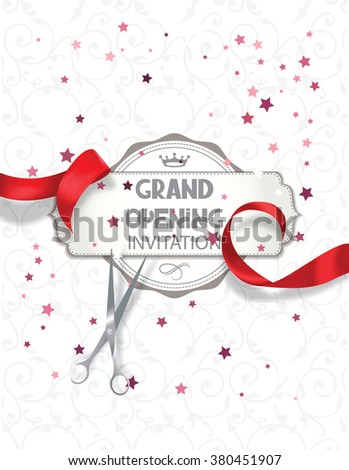 Grand opening invitation card with red silk ribbon and scissors - stock vector