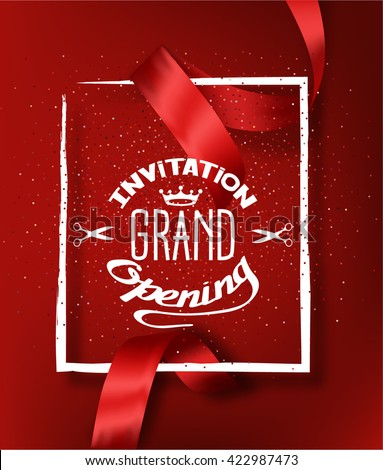 GRAND OPENING RED BACKGROUND WITH RED CUT SILK RIBBON - stock vector