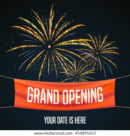 Grand opening vector illustration, background for new store, club, etc with firework. Template banner, flyer, design element for opening event - stock vector