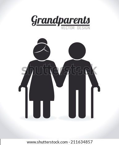 Grand parents design over white background, vector illustration - stock vector