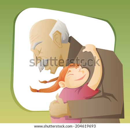 grandfather and grandchild gives each other family hugs - stock vector