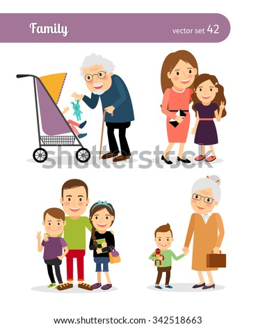 Grandfather and granddaughter, grandmother and grandson. Happy family - stock vector