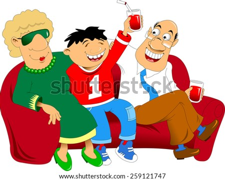 grandfather; grandmother and grandson sitting on a red couch - stock vector