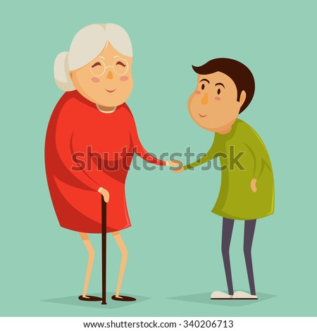 Grandmother and child holding hands. Happy grandparents day poster. Vector illustration in cartoon style - stock vector