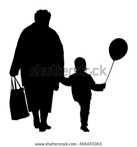 Grandmother and children taking a walk outdoors vector silhouette illustration isolated. happy family holding hands vector silhouette illustration isolated on background.  - stock vector