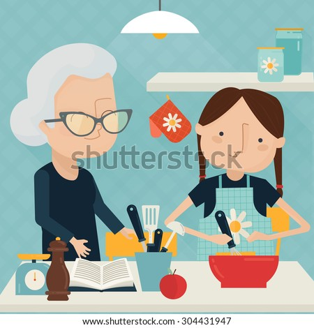 Grandmother and girl cooking at home together. Vector illustration - stock vector