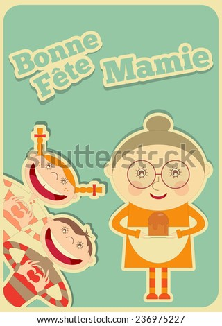 Grandmother Day France. Greeting Card with Grandma and Grandchildren in Cartoon Style. Vector Illustration. - stock vector
