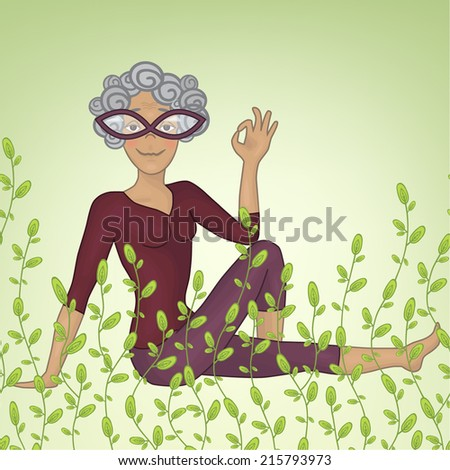grandmother. marichiasana 3. Yoga. in the grass - stock vector