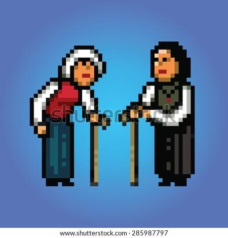 grandmothers talking pixel art style illustration - stock vector