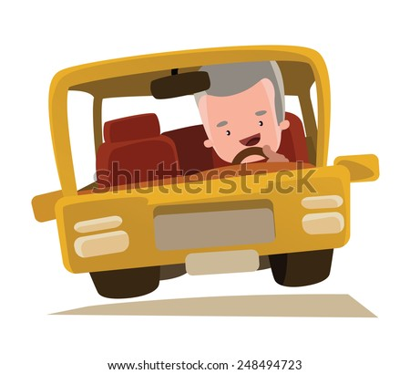 Grandpa driving a car vector illustration cartoon character - stock vector