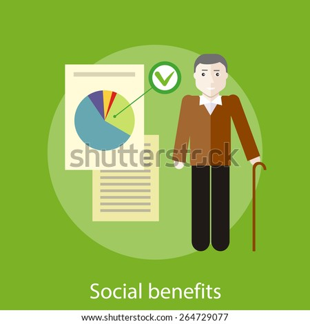 Grandpa with documents of social benefits. Concept in flat design style. Can be used for web banners, marketing and promotional materials, presentation templates - stock vector