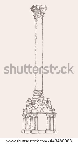 Granite pylon carved shaft grecian corinthian order on luxury base isolated on white backdrop. Freehand outline ink drawn picture sketch in doodle style. View closeup with space for text - stock vector