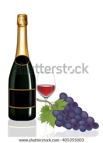 Grape,Bottle wine and Glass wine on white background,Vector illustration - stock vector