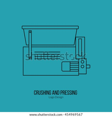 Grape crusher destemmer. Single logo in modern thin line style isolated on green background. Outline winery symbol. Simple mono linear pictogram. Stroke vector logotype template. - stock vector
