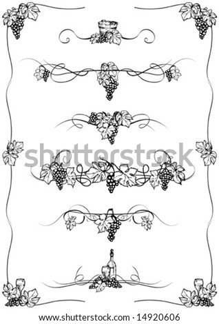 Grape frame and elements - stock vector