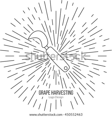 Grape hook, harvesting knife with star burst. Single logo in modern thin line style isolated on white background. Outline winery symbol. Simple mono linear pictogram. Stroke vector logotype template. - stock vector