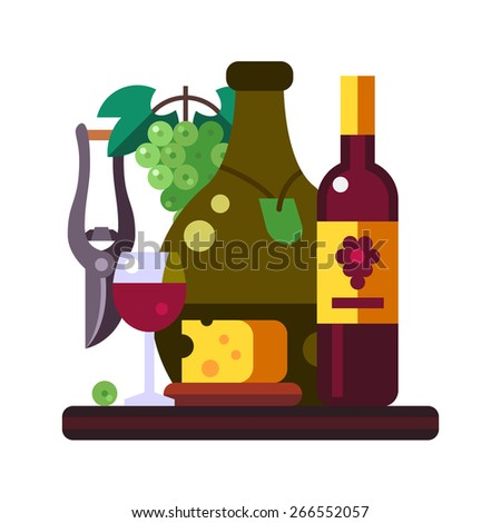 Grape still life. Flat vector illustration. - stock vector