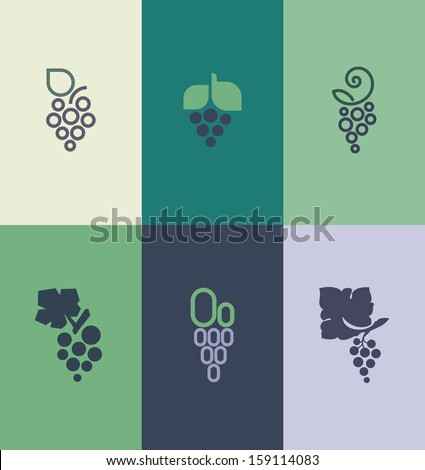 Grape with leaf. Vector elements for design - stock vector