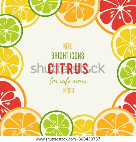 Grapefruit, lime, lemon and orange isolated on white background. Tasty refreshing cocktail ingredients. Cafe menu design. Page with juices. Citrus bright icons. Vector illustration. - stock vector