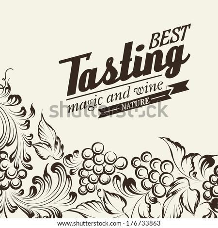 Grapes design for wine menu. Vector illustration. - stock vector