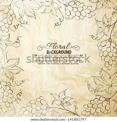 Grapes frame over old paper. Vector illustration. - stock vector