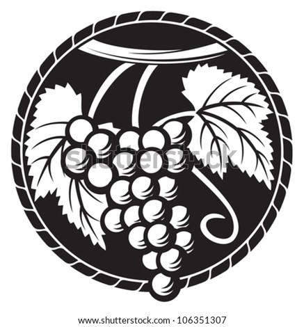 grapes symbol (grapes design, grapes label) - stock vector