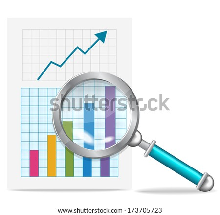 graph and magnifying glass - stock vector