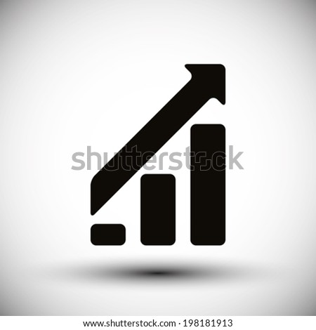 Graph bar rising up, vector symbol. - stock vector