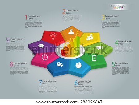 Graph/Chart Icon on Colorful Kite 3D, 9 Steps, Flower Design, Business Icon, Number and Text Informations, Business Infographics Template. Vector Illustration. - stock vector