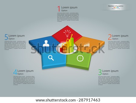 Graph/Chart Icon on Colorful Star 3D, 5 Steps, Business Icon, Number and Text Informations, Business Infographics Template. Vector Illustration. - stock vector