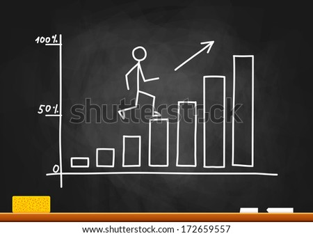 Graph drawing on blackboard - stock vector