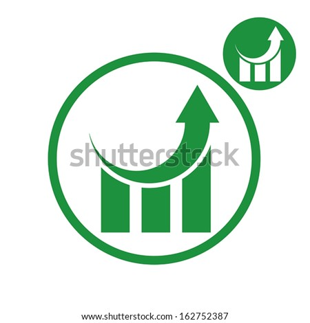 Graph growth graphics vector simple single color icon isolated on white background, includes invert version for you to choose. - stock vector