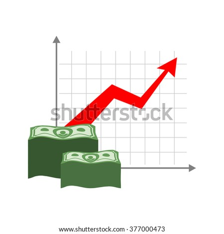 Graph growth money. Red up arrow. Increase in cash profit. Bundle of dollars. Increase amount of money savings. Element for business infographic - stock vector