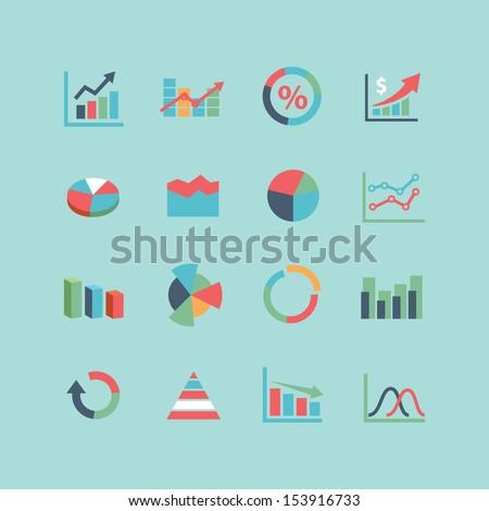 Graph Icon set - stock vector
