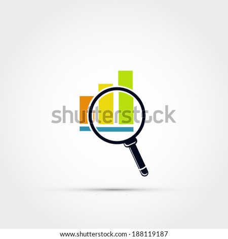 Graph icon with magnifying glass - stock vector