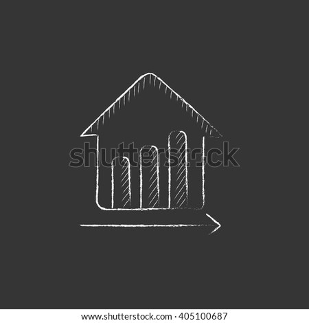 Graph of real estate prices growth. Drawn in chalk icon. - stock vector