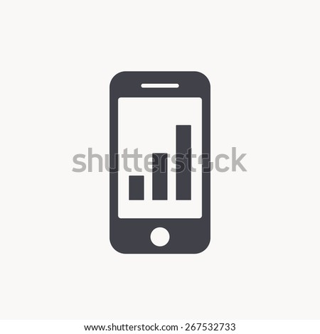 graph on smartphone icon - stock vector
