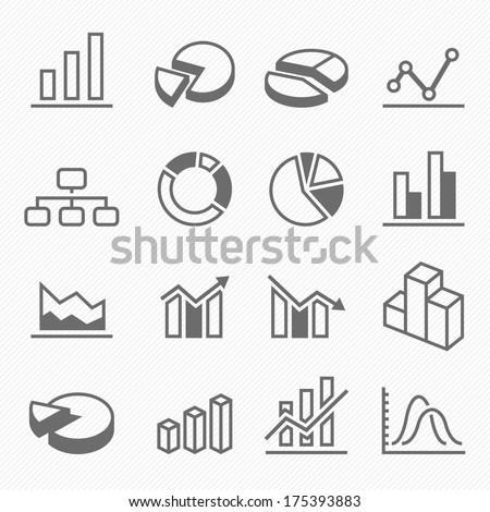 Graph outline stroke symbol icons vector - stock vector