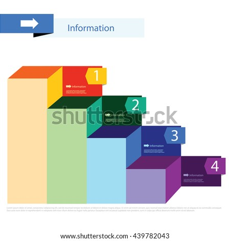 Graph template with icons, numbers and text, bar graph, business infographics - stock vector