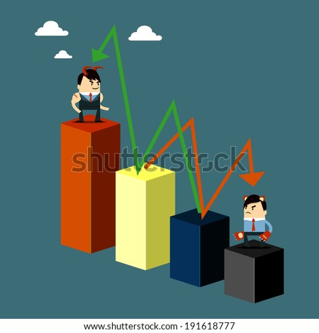 Graph up and down - stock vector