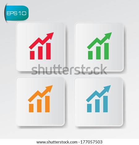 Graph up buttons,vector - stock vector