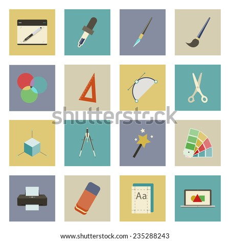 Graphic and design flat icons set - stock vector