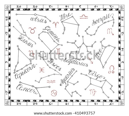 Graphic astrology set with Zodiac constellation signs in frame. Line art vector with horoscope symbols on white. Doodle mystic drawing and hand drawn sketch with calligraphic lettering - stock vector