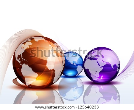 Graphic background with color globes - stock vector