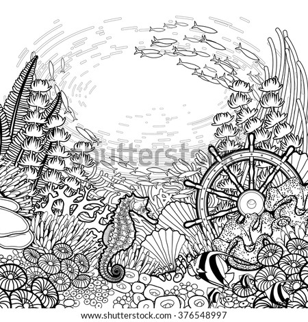 Graphic coral reef with sea horse ocean fish and sunken ship helm drawn in line art style. Marine vector card isolated on white background. Coloring book page design for adults and kids - stock vector