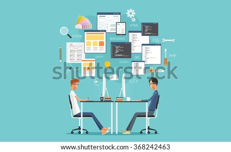 graphic design and  web  developer working on workplace.  develop for website and application.programming.business character.programmer.web creative design .web coding  - stock vector