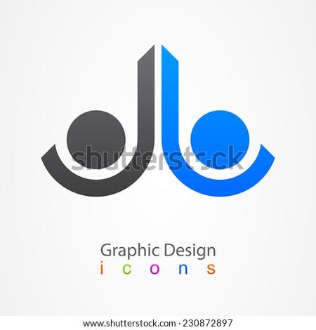 Graphic design business logo - stock vector