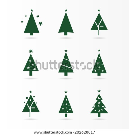 Graphic design - Christmas tree with star, green - stock vector
